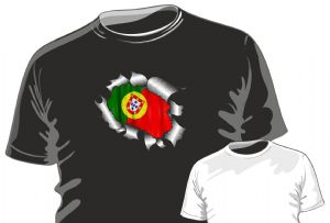 RIPPED TORN METAL Design With Portugal Portuguese Flag Motif mens or ladyfit t-shirt